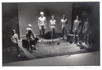 conferenza stampa dei nudi al Teatro Flajano. Strik Lievers, Cusino, Stanzani, Vigevano, Bernardini, Giustino, Frateloreto e Bertè, in digiuno, comple