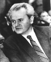 ritratto di Slobodan Milosevic, segretario del Partito socialista (ex comunista) serbo e presidente della Serbia.
