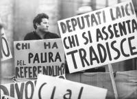 """manifestazione divorzista. Uomo in un mare di cartelli: """"chi ha paura del referendum?"""", """"deputati laici chi si assenta tradisce"""" (BN) ottima"""