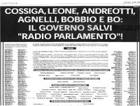 """Pagina a pagamento del """"Corriere della Sera"""". [metà superiore] Si tratta della prima pagina a pagamento. (pagata da Niki Grauso). """"Cossiga, Leone, And"""