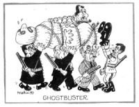 """VIGNETTA: """"Ghostbuster"""" Prodi (presidente del Consiglio), Scalfaro (presidente della Repubblica), Berinotti (PRC), D'Alema (PDS) e Veltroni (PDS), arm"""
