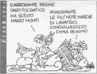 """VIGNETTA Un tizio a un altro: """"L'arrogante regime partitocratico ha scelto Mario Monti"""". L'altro risponde: """"Nonostante le più note marche di lavatrici"""