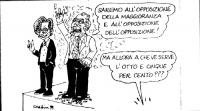 """VIGNETTA Emma Bonino e Marco Pannella in piedi su un podio. Pannella: """"Saremo all'opposizione della maggioranza e all'opposizione dell'opposizione!"""""""