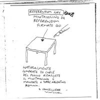 """VIGNETTA """"Referendum gay. Minitavolino da referendum  firmate qui"""" (freccia su un tavolino e una penna) """"Naturalmente comprate 20 copie del foglio rit"""