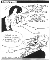 """VIGNETTA Berlusconi sorridente: """"L'eclisse è passata e la fine del mondo non s'è vista! Come può tanta gente credere alle profezie?"""". Pannella altrett"""