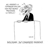 """VIGNETTA """"Al Congresso radicale parla in difesa di Cicciolina, criticata dal segretario Negri"""". Pannella, molto imbarazzato, alla tribuna del 34° cong"""