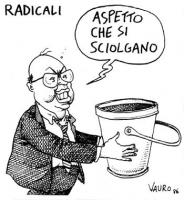 """VIGNETTA Bettino Craxi con un vaso vuoto in mano, dice: """"Aspetto che si sciolgano"""". La vignetta, firmata Vauro, apparsa sul Manifesto, si riferisce al"""