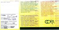 Tessera di iscrizione al Cora del 1997, firmata dal segretario Eric Picard, dal tesoriere Marco Cappato. Un breve testo sulle ragioni costitutive del