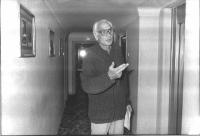 Marco Pannella, all'hotel Minerva, dove conduce un digiuno sugli obiettivi dell'appello sulla fame nel mondo, per salvare subito almeno 5 milioni di p