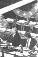 Tribuna di presidenza del 35° Congresso (Marco Pannella e Massimo Teodori).