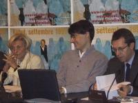 Conferenza stampa di presentazione del satyagraha radicale per la partecipazione delle donne al nuovo governo afghano. Emma Bonino, Luca Coscioni, Ben