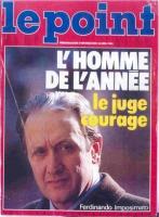 """Copertina della rivista """"le point"""", con la foto di Ferdinando Imposimato (scritta: """"L'homme de l'année - le juge courage"""")."""