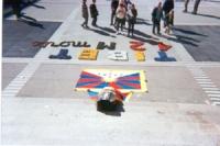 """Manifestazione per la libertà del Tibet. Una bara coperta dalla bandiera tibetana, e di fronte la scritta: """"Tibet 12  M morts""""."""