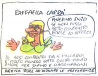 """VIGNETTA Raffaella Carrà: """"Poverino Enzo, se non fossi sotto contratto forse lo voterei"""". Didascalia: """"Il suo contratto da 5 miliardi è molto pignolo"""