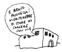 """VIGNETTA Adriano Sofri, dal carcere di Pisa: """"E bravo Pannella! Meriterebbe di stare in carcere con me"""". Vignetta di Vincino, uscita sul giornale """"Il"""