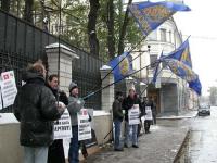 """Manifestazione davanti all'ambasciata del Laos, in occasione del quarto anniversario del """"Movimento del 26 ottobre 1999"""". Fra gli altri: Nikolaj Khram"""