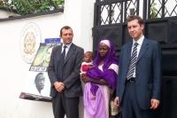 Roberto Giachetti (deputato della Margherita) e Benedetto Della Vedova, insieme ad Amina, condannata a morte in Nigeria per adulterio, di fronte al ca
