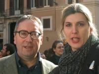 Franco Grillini e Christina Sponza (in occasione della manifestazione davanti a Montecitorio in occasione della discussione della legge sulla fecondaz