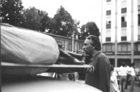 3a marcia antimilitarista Milano-Vicenza. Marco Pannella al microfono.