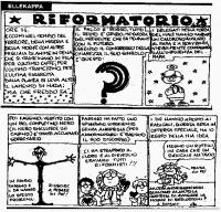 """VIGNETTA """"Riformatorio"""". Striscia di vignette firmata Ellekappa, sul congresso dei DS, in cui si stabilisce un'apertura ai radicali. Uscita sul quotid"""