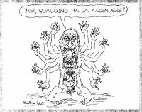 """VIGNETTA Pannella dalle braccia multiple con Emma Bonino in grembo, chiede: """"Hei, qualcuno ha da accendere?"""". Vignetta di Forattini, apparsa sul quoti"""