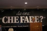 """Emma Bonino alla tribuna dell'assemblea postreferendaria: """"Che fare?""""."""